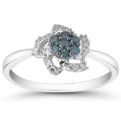 1/4 Carat Blue and White Diamond Ring in 10K White Gold