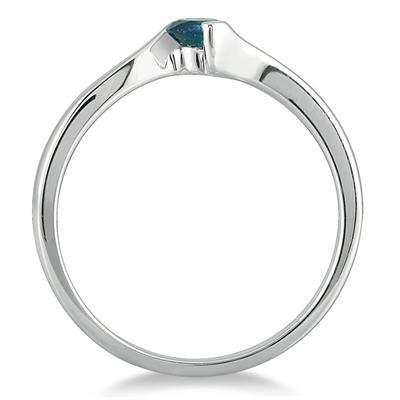 1/4 Carat Blue Diamond Solitaire Ring in 10K White Gold