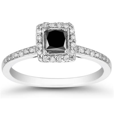 Black and White Diamond Ring in 10K White Gold