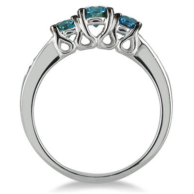 1 1/10 Carat Blue Diamond Three Stone Ring in 10K White Gold