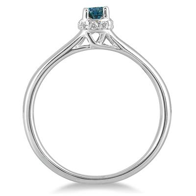 1/5 Carat Blue and White Diamond Ring in 10K White Gold