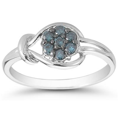 1/4 Carat Blue Diamond Love Knot Ring in 10K White Gold