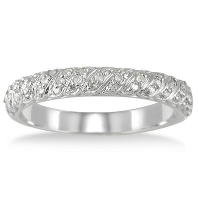 1/4 Carat Diamond Wedding Band Ring in 10K White Gold