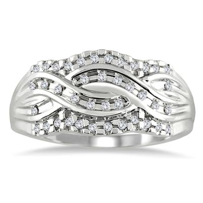 1/3 Carat Diamond I Love Mom Ring in 10K White Gold
