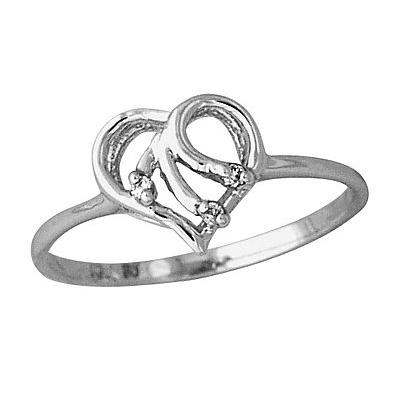 Diamond Heart Ring in 10kt White Gold