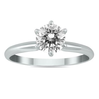 1 Carat Diamond Solitaire Ring in 14K White Gold (J-K Color, I2-I3 Clarity)