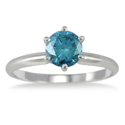 1 Carat Blue Diamond Solitaire Ring in 14K White Gold