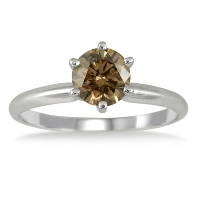 1 Carat Champagne Diamond Solitaire Ring in 14K White Gold