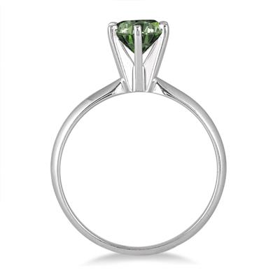 1 Carat Green Diamond Solitaire Ring in 14K White Gold