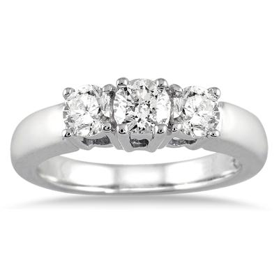 1.00 Carat Three Stone Diamond Ring in 10K White Gold