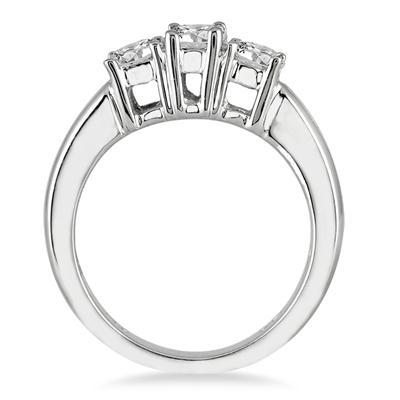 1 Carat Three Stone Diamond Ring in 10K White Gold