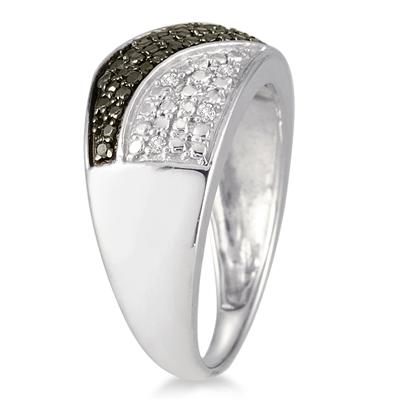 1/10 Carat TW Black and White Diamond Ring in .925 Sterling Silver