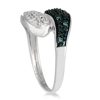 1/10 Carat TW Blue and White Diamond Ring in .925 Sterling Silver