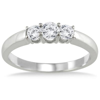 1/2 Carat Three Stone Diamond Ring in 10K White Gold