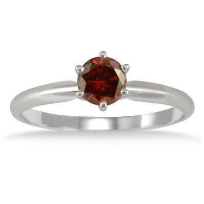 1/2 Carat Cognac Diamond Solitaire Ring in 10K White Gold