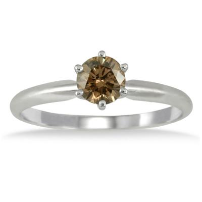 1/2 Carat Champagne Diamond Solitaire Ring in 10K White Gold