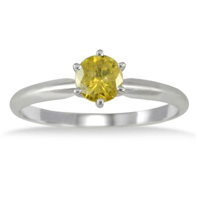 1/2 Carat Yellow Diamond Solitaire Ring in 10K White Gold