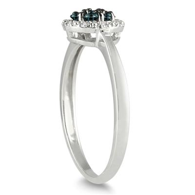 1/4 Carat T.W Blue and White Diamond Ring in 10K White Gold