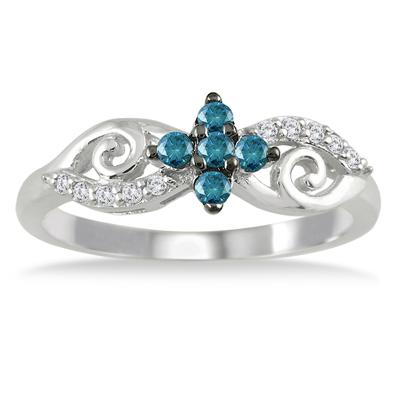 1/4 Carat TW Blue and White Diamond Ring in 10K White Gold