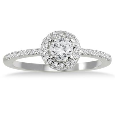 3/5 Carat Diamond Halo Engagement Ring in 10K White Gold