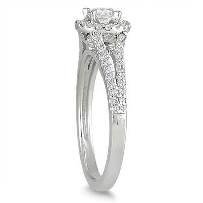 1/2 Carat White Diamond Engagement Ring in 10K White Gold