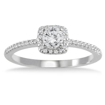 1/2 Carat Diamond Engagement Ring in 10K White Gold