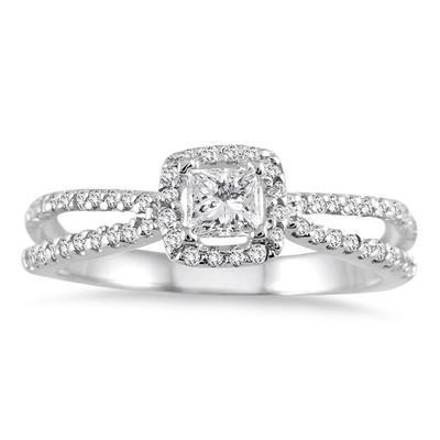 1/2 Carat Princess Cut Diamond Ring in 10K White Gold