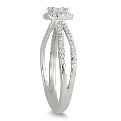 1/2 Carat Princess Cut Diamond Ring in 10K White Gold