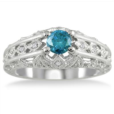 5/8 Carat Blue and White Art Deco Diamond Ring in 10K White Gold