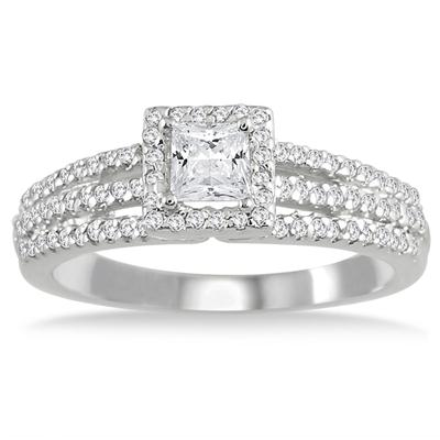 5/8 Carat Halo Princess Cut Diamond Ring in 10K White Gold