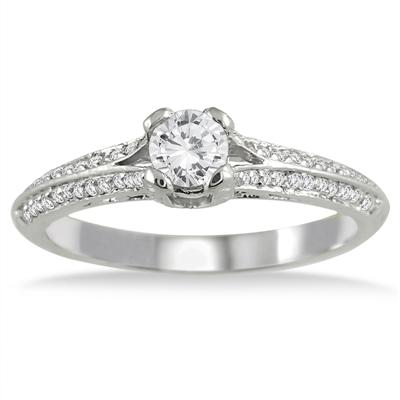 1/2 Carat Diamond Antique Engagement Ring in 10K White Gold