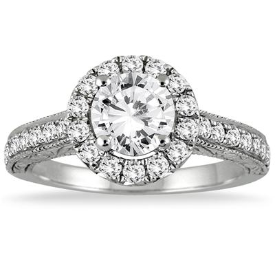 1 3/5 Carat TW Halo Diamond Engagement Ring in 14K White Gold