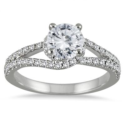 1 1/10 Carat TW  Diamond Engagement Ring in 14K White Gold