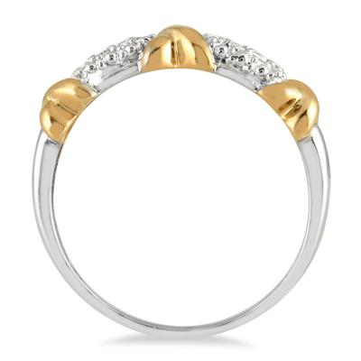 1/10 Carat Diamond Hugs and Kisses 8 Stone Two Tone Ring in .925 Sterling Silver