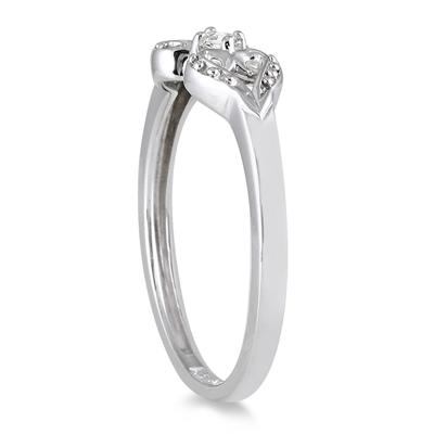 Dual Heart Diamond Ring in 14K White Gold