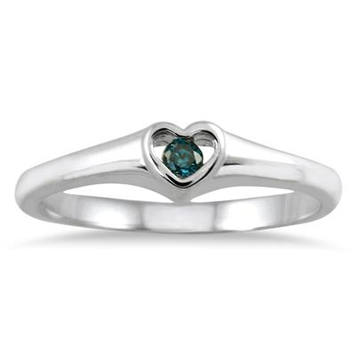 Blue Diamond Heart Ring in 14K White Gold