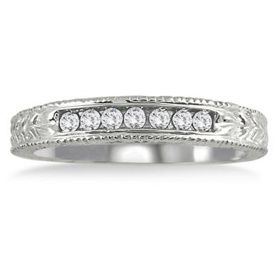 1/6 Carat 7 Stone Diamond Antique Ring in .925 Sterling Silver