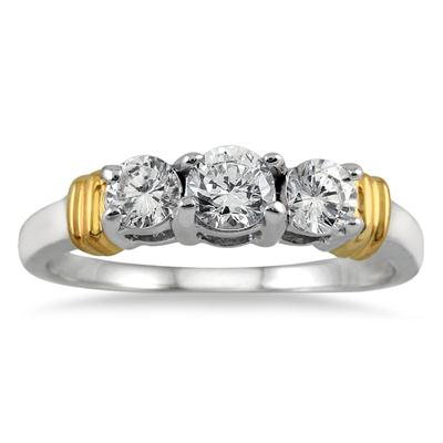 1.00 Carat Three Stone Diamond Ring in Two Tone 14K White Gold