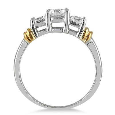 1.00 Carat Three Stone Diamond Ring in Two Tone 14K White Gold