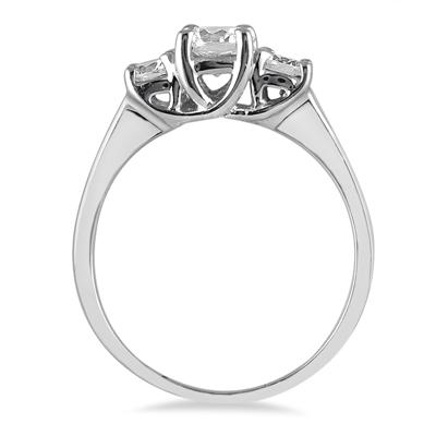 1.00 Carat Three Stone Diamond Ring in 14K White Gold