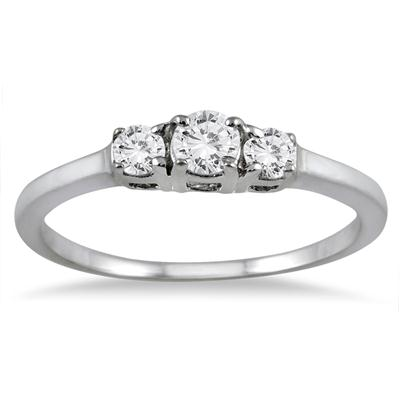 1/4 Carat Three Stone Diamond Ring in 10K White Gold