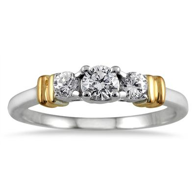 1/2 Carat TW Three Stone Diamond Ring in Two Tone 10K Gold