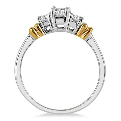 1/2 Carat Three Stone Diamond Ring in Two Tone 10K Gold
