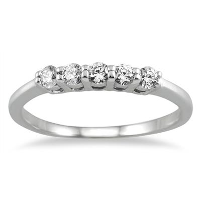 1/4 Carat Five Stone Diamond Wedding Band in 10K White Gold