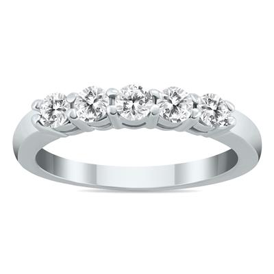 1/2 Carat Five Stone Diamond Wedding Band in 10K White Gold