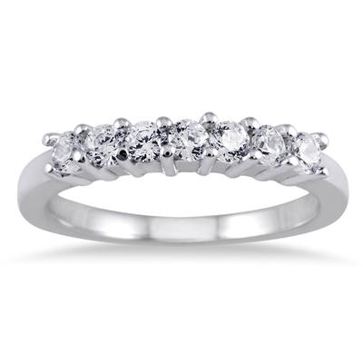 1/2 Carat Seven Stone Diamond Wedding Band in 10K White Gold