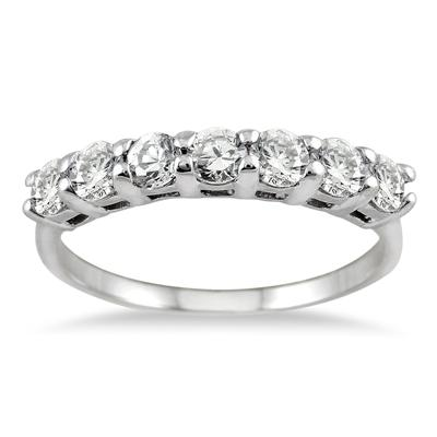 1.00 Carat Seven Stone Diamond Wedding Band in 14K White Gold