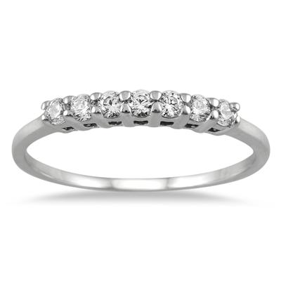 1/4 Carat TW Seven Stone Diamond Wedding Band in 14K White Gold