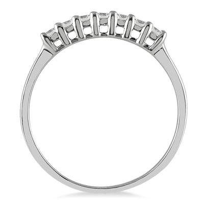1/4 Carat Seven Stone Diamond Wedding Band in 14K White Gold