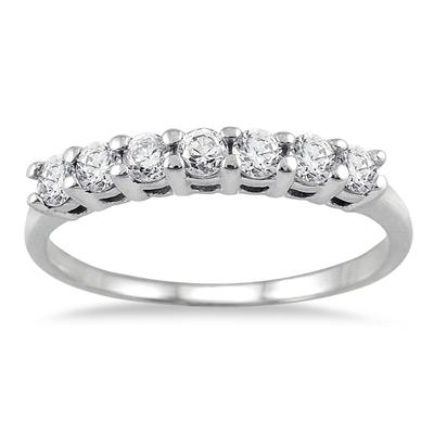 1/2 Carat Seven Stone Wedding Band in 10K White Gold